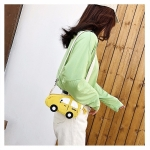 Car-shape Corduroy Single Shoulder Bag Ladies Handbag Messenger Bag (Yellow)