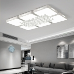 65W Living Room Simple Modern LED Ceiling Lamp Crystal Light, 3-Color Dimming, 90 x 60cm