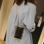Metal Texture Small Bag PU Leather Single Shoulder Bag Cellphone Bag Messenger Bag (Black)