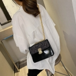 Glitter Magnetic Buckle PU Leather Chain Single Shoulder Bag Ladies Handbag Messenger Bag (Black)