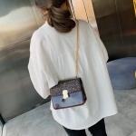 Glitter Magnetic Buckle PU Leather Chain Single Shoulder Bag Ladies Handbag Messenger Bag (Wine Red)