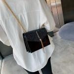 Glitter Tassel PU Leather Chain Single Shoulder Bag Ladies Handbag Messenger Bag (Black)