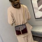 Glitter Tassel PU Leather Chain Single Shoulder Bag Ladies Handbag Messenger Bag (Wine Red)