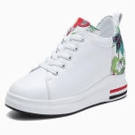 Thick Bottom Increased Versatile Printed Microfiber Leather Wild Casual Shoes for Women (Color:White Size:36)