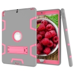 Contrast Color Silicone + PC Shockproof Case for iPad Pro 10.5 inch, with Holder (Grey+Rose Red)