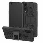 Tire Texture TPU+PC Shockproof Case for Galaxy A8s, with Holder (Black)