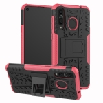 Tire Texture TPU+PC Shockproof Case for Galaxy A8s, with Holder (Pink)