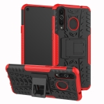 Tire Texture TPU+PC Shockproof Case for Galaxy A8s, with Holder (Red)