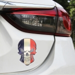 Universal Car France Flag Skull Shape Metal Decorative Sticker