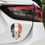 Universal Car France Flag Skull Shape Metal Decorative Sticker