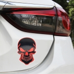 Universal Car Skull Shape Metal Decorative Sticker (Black Red)