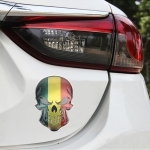 Universal Car Mali Flag Skull Shape Metal Decorative Sticker