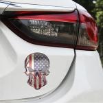 Universal Car USA Flag Skull Shape Metal Decorative Sticker
