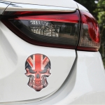 Universal Car UK Flag Skull Shape Metal Decorative Sticker