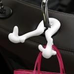 Universal Car Seat Back Bag Hanger Holder Auto Headrest Luggage Hook (White)