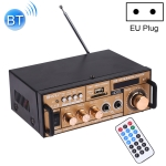 BT-118 Bluetooth HiFi Stereo Audio Amplifier with Remote Controller, LED Display, USB / SD & MMC Card / MP3 / AUX / FM, AC 220V / DC 12V, EU Plug