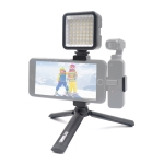STARTRC Foldable Metal Tripod Holder + Phone Clamp Mount Fixed Stand Bracket with LED Light  for DJI OSMO Pocket(Black)