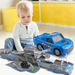 MoFun ZHIBO E6015 Police Deformation Track Parking Lot Children Intelligence Toy with Car, Support Sound Light & Ejection Function