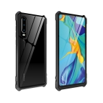 Buckle Series Metal Frame + Tempered Glass Protective Case for Huawei P30(Black)