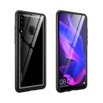 Arc Series Metal Frame + Tempered Glass Protective Case for Huawei P30 lite / nova 4e(Black)