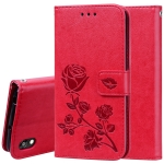 Rose Embossed Horizontal Flip PU Leather Case for Huawei Honor 8S / Y5 (2019), with Holder & Card Slots & Wallet (Red)
