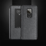 Top-grain Horizontal Flip Leather Case for Huawei Mate 20 X, with Call Answering Function & Sleep / Wake-up (Black)