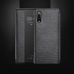 Top-grain Horizontal Flip Leather Case for Huawei P20, with Call Answering Function & Sleep / Wake-up (Black)