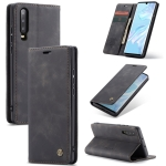 CaseMe-013 Multifunctional Retro Frosted Horizontal Flip Leather Case for Huawei P30, with Card Slot & Holder & Wallet (Black)