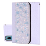 Crocodile Texture Glitter Powder Horizontal Flip Leather Case for Huawei Honor 8C / Enjoy 9 / Y7 Pro (2019) / Y7 Prime (2019) /Y7 (2019), with Card Slots & Holder (White)