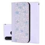 Crocodile Texture Glitter Powder Horizontal Flip Leather Case for Huawei Y9 (2019) / Enjoy 9 Plus, with Card Slots & Holder (White)