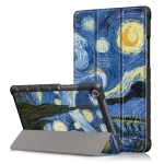 Starry Sky Pattern Colored Drawing Horizontal Flip Leather Case for Huawei MediaPad M5 Lite, with Three-folding Holder