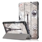 Retro Tower Pattern Colored Drawing Horizontal Flip Leather Case for Huawei MediaPad M5 Lite, with Three-folding Holder