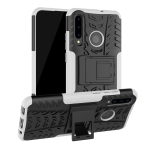 Tire Texture TPU+PC Shockproof Case for Huawei P Smart+ 2019, with Holder (White)