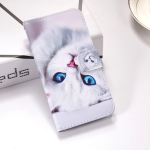 White Cat Pattern Colored Drawing Horizontal Flip Leather Case for Huawei Nova 4, with Holder & Card Slots & Wallet & Lanyard