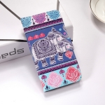 Elephant Pattern Colored Drawing Horizontal Flip Leather Case for Huawei P Smart (2019), with Holder & Card Slots & Wallet & Lanyard