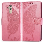 Butterfly Love Flowers Embossing Horizontal Flip Leather Case for Huawei Mate 20 Lite, with Holder & Card Slots & Wallet (Pink)