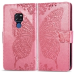 Butterfly Love Flowers Embossing Horizontal Flip Leather Case for Huawei Mate 20, with Holder & Card Slots & Wallet & Lanyard (Pink)
