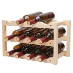 Solid Wood Folding 12-bottle Wine Display Rack Multi-layer Wine Rack, Size: 46x24x28cm