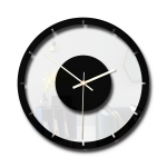 TM011 A Round Wooden Dial Transparent Acrylic Mute Wall Clock