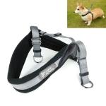 1421A Adjustable Dog Harness Lead Leash Collar Belt, Adjustable Range: (49-57)+(54-63)cm,Size:M (Grey)