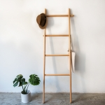 Solid Wood Creative Landing Ladder Clothes Hat Rack,Size: 170x45x52cm, Beech