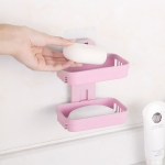 Wall Hanging Traceless Double-deck PP Soap Holder Bathroom Storage Shelf (Pink)
