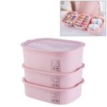 3  PCS / Set Plastic Underwear Socks Storage Box Home Organizer for Small Clothing (Pink)