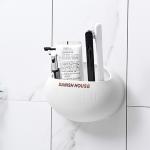 Wall Hanging Traceless Sucker Toothbrush Holder Multifunction Bathroom Storage Shelf (White)