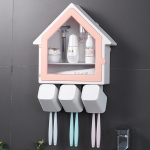 Bathroom Wall Hanging Small House Toothbrush Holder Toiletries Storage Shelf (Pink)
