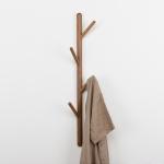 Creative Tree-shaped Solid Wood Floor Hatstand Clothes Hanging Rack,Size: 75x3cm, Black Walnut