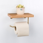 Creative Solid Wooden Mobile Phone Shelf Toilet Paper Roll Shelf with Punching, Beech