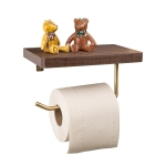 Creative Solid Wooden Mobile Phone Shelf Toilet Paper Roll Shelf with Punching, Black walnut
