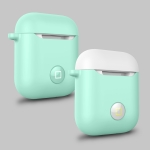 Angibabe HX-0010-CMD Anti-fall Wireless Bluetooth Earphone Silicone Protective Case for Apple AirPods 1 (White + Green)