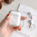 White Heart Pattern Shockproof Coloured Drawing PC Protective Case for Apple AirPods